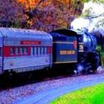 قطار يسير عبر غابات الخريف في المانيا