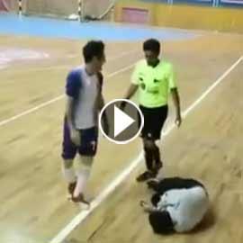 احتفال لاعب بهدف ينتهي بكارثة.. فيديو