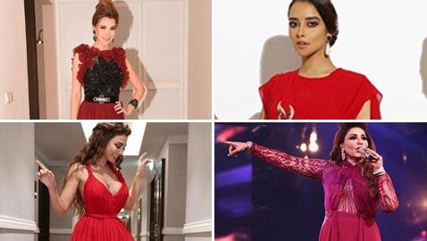 صور فنانات يتألقن باللون الاحمر: نانسي، سيرين، مي ميريام وبلقيس، أيهن أجمل؟
