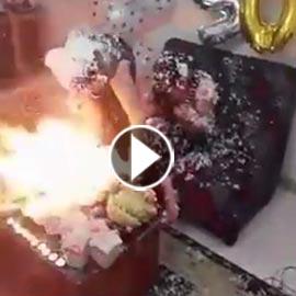 بالفيديو.. عيد ميلاد ينتهي باشتعال النيران في فتاتين