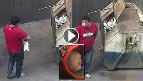 بالفيديو.. رجل صيني يلقي طفلته الرضيعة في القمامة