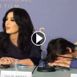 بالفيديو.. بطل كفر ناحوم  ينام الى جانب نادين لبكي