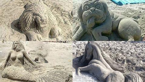 صور إبداعات فن النحت على الرمال تزيّن أجمل شواطئ العالم
