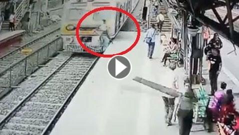 فيديو صادم: لحظة انتحار رجل قفز فجأة أمام قطار مسرع!