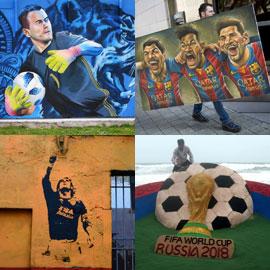 15 صورة تؤكد ان الفنون جنون، خاصة لعشاق لعبة كرة القدم وكأس العالم!