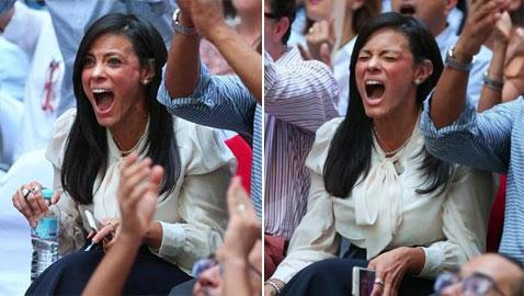 صور وزيرة مصرية عاشت لحظات عصبية خلال مباراة نهائي كأس العالم