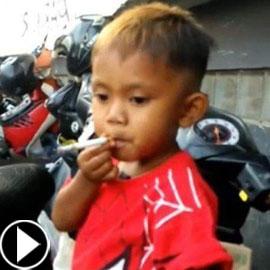 طفل اندونيسي عمره عامان يدخّن 40 سيجارة يومياً.. فيديو وصور