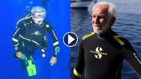 فيديو وصور: عجوز بريطاني (95 عاما) يحطم الرقم القياسي في الغوص