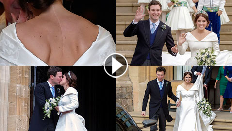 صور زفاف الاميرة يوجيني حفيدة الملكة اليزابيث ولماذا كشف ثوب الزفاف عن ظهرها؟