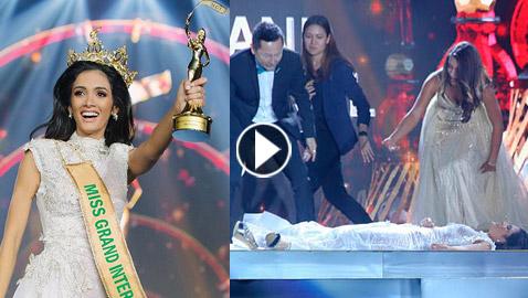 فيديو انهيار ملكة جمال باراجواي عند إعلان فوزها باللقب وسقوطها على المسرح