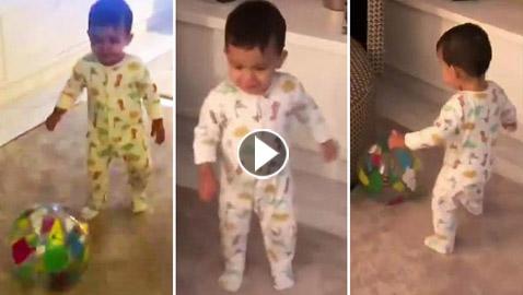 بالفيديو: ابن رونالدو الأصغر (ماتيو) يخطف الأنظار بمهارته في تسديد الكرة