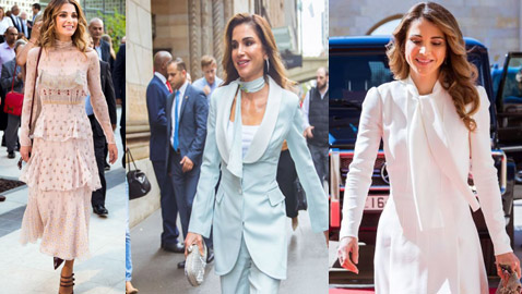 صور الملكة رانيا تتألق بأزياء مصممين عرب لتشجيع الابداع العربي