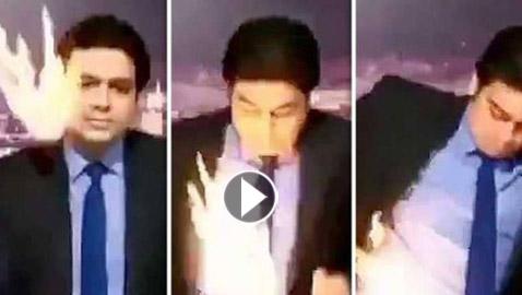 فيديو صادم.. مذيع تلفزيوني يحترق على الهواء مباشرة