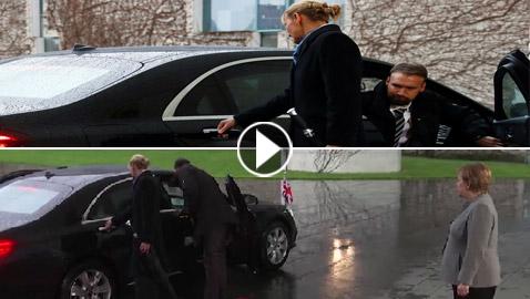 بالفيديو: تيريزا ماي تعلق في سيارتها وأنجيلا ميركل تنتظرها في البرد!
