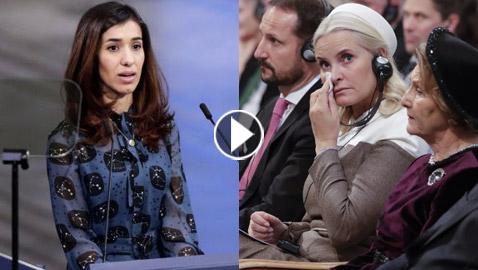 أميرة النرويج تبكي بسبب خطاب ناديا مراد ضحية العنف في حفل جوائز نوبل