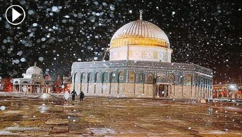 فيديو وصور تأسر قلوب المسلمين: أمطار وثلوج فوق قبة الصخرة بالقدس