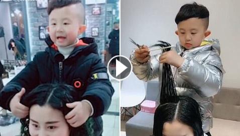 أصغر مصفف شعر نسائي في العالم.. عمره 6 سنوات ولديه موهبة كبيرة!