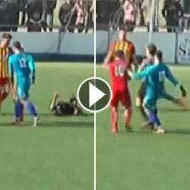 حارس مرمى إسباني يسجل هدفا قاتلا بيده ويركل الحكم بعد إلغائه! فيديو