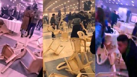 فيديو صادم: حفل خطوبة في لبنان ينقلب الى مشاجره عنيفة  وتكسير جماعي بالكراسي والطاولات!