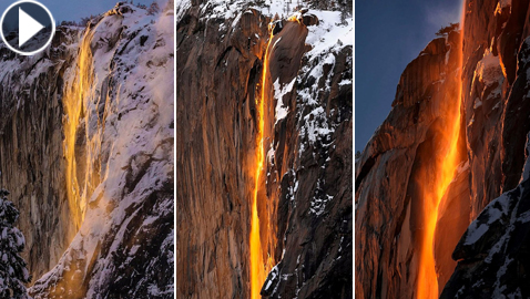 صور وفيديو: (شلال النار) يظهر فى كاليفورنيا من جديد ويذهل الجميع