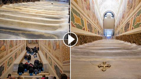 لأول مرة منذ 300 عام.. الكشف عن (الدرج المقدس) الذي صعده المسيح!