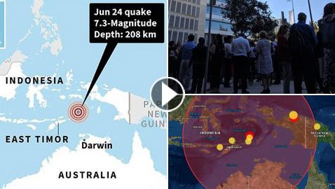 زلزال عنيف قوته 7.3 درجات يضرب إندونيسيا