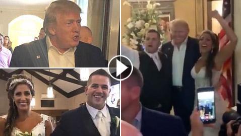 دونالد ترامب يفاجئ عروسين بحضور حفل زفافهما