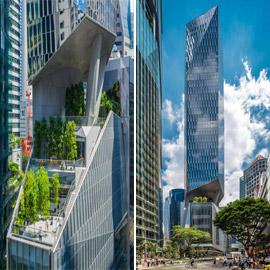 بالصور: افتتاح برج بتصميم غريب محيّر بأسلوب هندسي فريد في سنغافورة