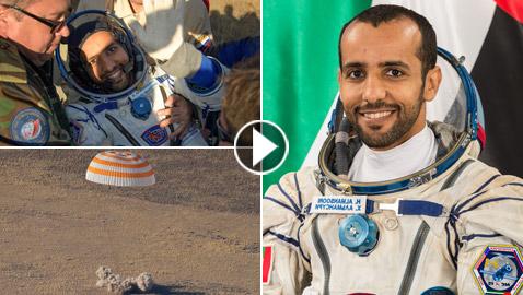 اللحظات الأولى لوصول رائد الفضاء الإماراتي هزاع المنصوري إلى الأرض