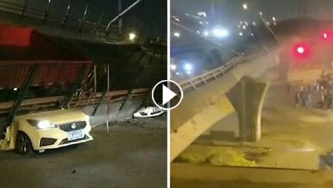 فيديو للحظة انهيار جسر فوق السيارات.. 3 قتلى بـ
