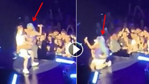 بالفيديو.. لحظة سقوط ليدي غاغا عن المسرح
