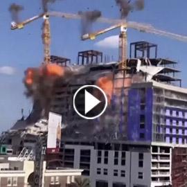 تدمير رافعتين بالمتفجرات بعد انهيار مبنى