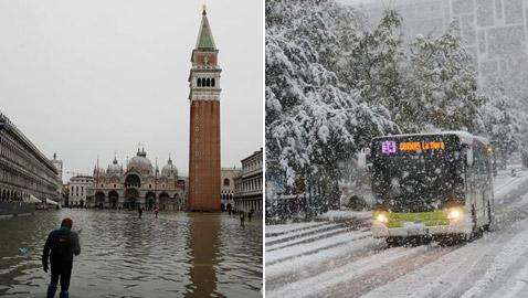 بالصور: الثلوج والفيضانات تصل إلى أوروبا مبكرا