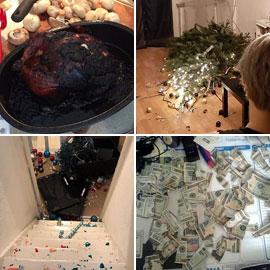 تكسير وحرق وتخريب... كوارث عيد الميلاد في لقطات مضحكة