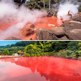 بالصور: تعرفوا إلى بركة الدم في مدينة الجحيم السحرية في اليابان