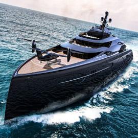 بالصور: يخت فاخر ضخم على شكل سفينة حربية بلون أسود لامع!