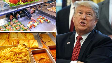 ترامب يحذف الأكل الصحي من المدارس ويستبدله بوجباته المفضلة