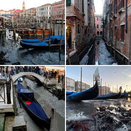 مشاهد صادمة لجفاف مدينة البندقية الإيطالية