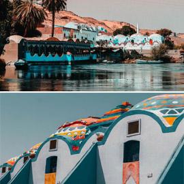 بيوت النوبة بقرية غرب سهيل بمصر.. منازل ملونة بكل ألوان قوس القزح