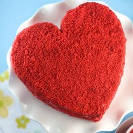 كيكة عيد الحب المخملية الحمراء