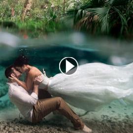 أجمل صور وفيديوهات الزفاف تحت الماء.. بينها فيديو عرس مصري!