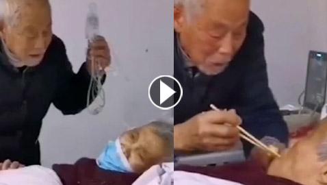 سأحبك للأبد.. فيديو رومانسي لزوجين مسنين مريضين بـ