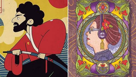 صور مدهشة.. فنان يرسم مشاهير مصر بالطريقة اليابانية