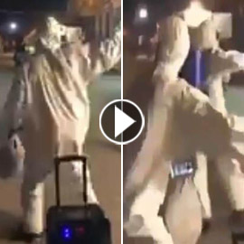 فيديو طريف: فرقة تعقيم ضد كورونا ترقص على (بنت الجيران)