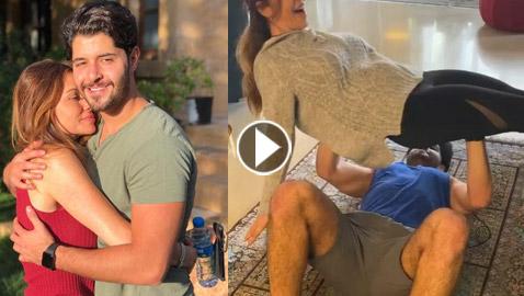 بالفيديو: خالد راغب علامة يتمرن بالبيت ويرفع والدته بدل الأثقال