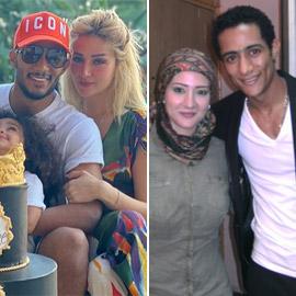 صور محمد رمضان مع زوجته الأولى المحجبة والثانية تشعل الجدل