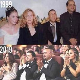 صورة احمد السقا قبل 21 عاما في حفل زفافه مع العروس ومحمد هنيدي