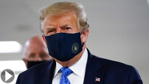 الرئيس الأمريكي دونالد ترامب يرتدي كمامة في مكان عام لأول مرة!