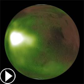 فيديو وصور: مسبار فضائي يرصد توهج أخضر مخيف في كوكب المريخ!