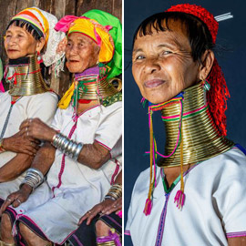 صور مدهشة ونادرة لقبيلة تجبر نساءها على تطويل أعناقهن بطرق غريبة